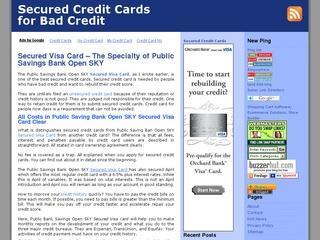 Secured Credit Cards for Improving Bad Credit